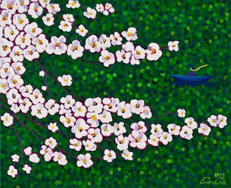 벚꽃과 큰왕자 V (Big Prince and the Cherry Blossoms V), 65x53cm, oil on canvas, 2015