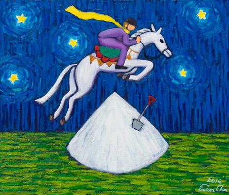 말 타는 큰왕자 (Big Prince Riding the Horse), 53x45cm, oil on canvas, 2016