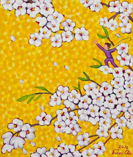 노랑빛깔 하늘 속 벚꽃(Cherry Blossoms in Yellow), 45x53cm, oil on canvas, 2016