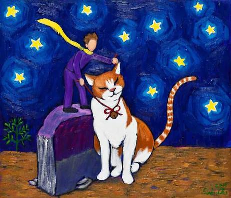 고양이와 큰왕자 (Big Prince and the Cat), 53x45cm, oil on canvas, 2015