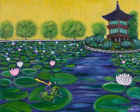 개구리와 큰왕자 (Big Prince and the Frog), 100x80cm, oil on canvas, 2014