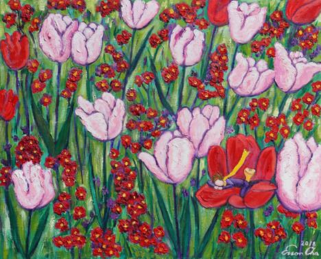 튤립꽃밭의 큰왕자(Big Prince in Tulip Field), 65x53cm, oil on canvas, 2018