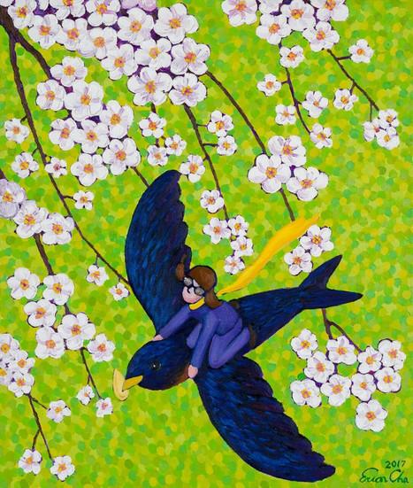 제비와 큰왕자 (Swallow and the Big Prince), 60x72cm, oil on canvas, 2017