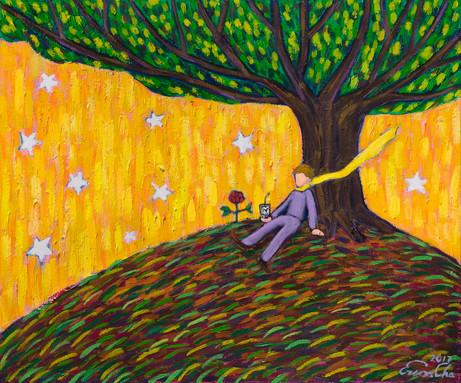 큰 나무와 큰왕자 (Big Prince and the Big Tree) , 72x60cm, oil on canvas, 2017