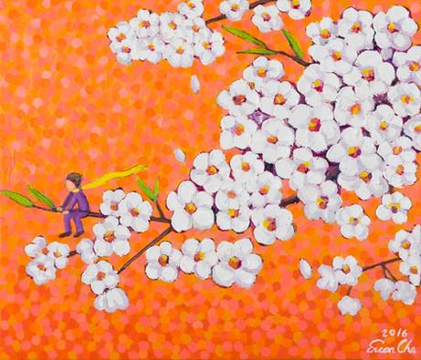 주황빛깔 하늘 속 벚꽃(Cherry Blossoms in Orange), 53x45cm, oil on canvas, 2016