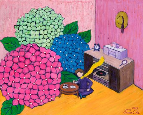 수국의 방 (The Room of Hydrangeas) , 65x53cm, oil on canvas, 2017