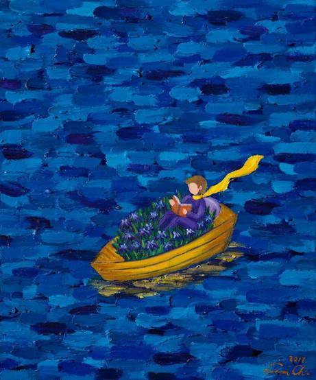 독서하는 큰왕자 (Big Prince Reading), 53x65cm, oil on canvas, 2017