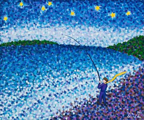 낚시하는 큰왕자 (Big Prince Fishing), 72x60cm, oil on canvas, 2015