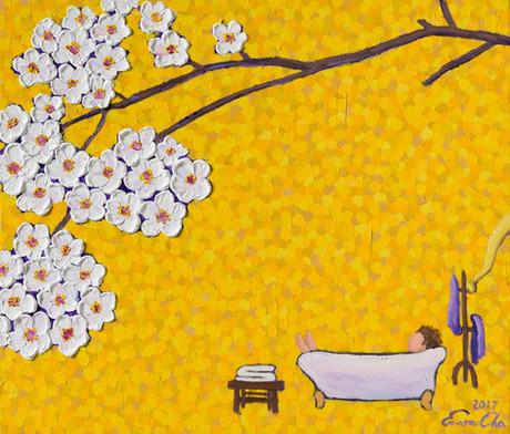 욕조와 큰왕자 (Big Prince in Bathtub), 53x45cm, oil on canvas, 2017