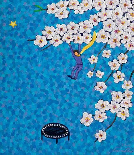 트램폴린과 큰왕자 (Trampoline and the Big Prince), 45x53cm, oil on canvas, 2017