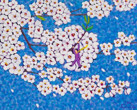 파랑빛깔 하늘 속 벚꽃(Cherry Blossoms in Blue), 65x53cm, oil on canvas, 2016