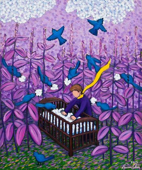 아기침대와 큰왕자 (Big Prince and the Crib), 60x72cm, oil on canvas, 2015