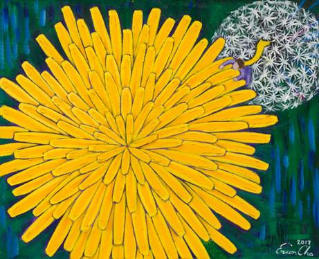 민들레 I (Dandelion I) , 65x53cm, oil on canvas, 2017