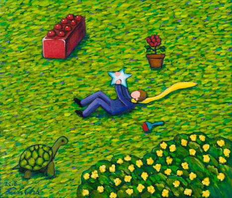 별과 놀아주는 큰왕자 (Big Prince Playing with the Star), 53x45cm, oil on canvas, 2016