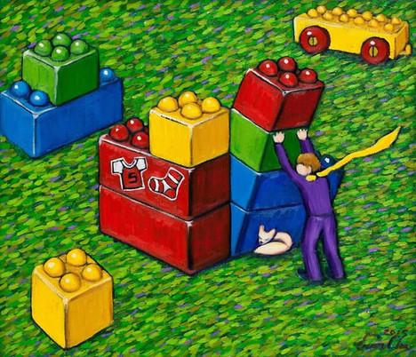 베베블럭과 큰왕자 (Big Prince and the Bebe Blocks), 53x45cm, oil on canvas, 2015