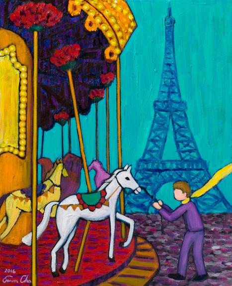 회전목마와 큰왕자 (Big Prince and Carrousel), 53x65cm, oil on canvas, 2016