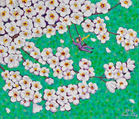 초록빛깔 하늘 속 벚꽃(Cherry Blossoms in Green), 53x45cm, oil on canvas, 2016
