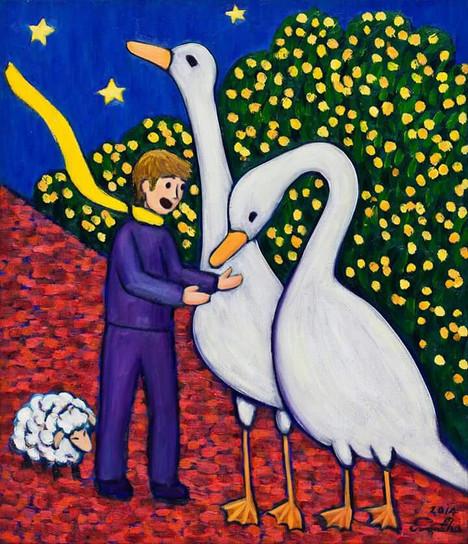 오리와 큰왕자 (Big Prince and Ducks), 45x53cm, oil on canvas, 2015