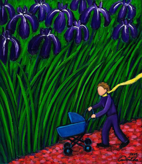 유모차와 큰왕자 (Big Prince and the Stroller), 45x53cm, oil on canvas, 2015