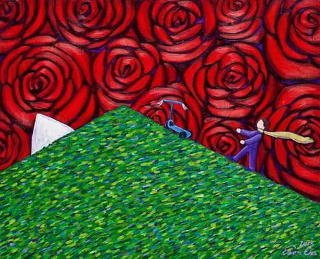 쌩쌩이와 큰왕자 (Big Prince and the Scooter) , 65x53cm, oil on canvas, 2015