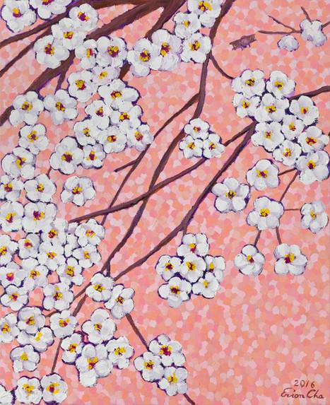 분홍빛깔 하늘 속 벚꽃(Cherry Blossoms in Pink), 53x65cm, oil on canvas, 2016