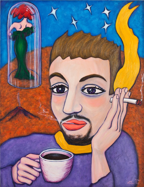 커피 마시는 큰왕자 (Big Prince Drinking Coffee), 112x145cm, oil on canvas, 2011