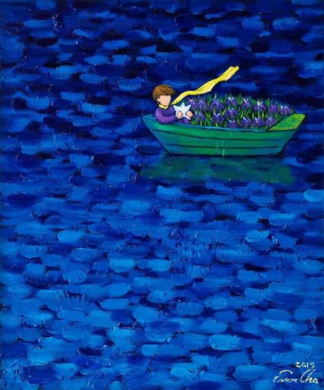 별을안고 배에 탄 큰왕자 (Big Prince on Boat with the Star), 72x60cm, oil on canvas, 2015