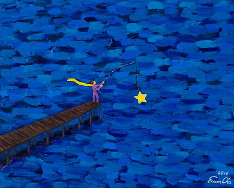 별을 낚는 큰왕자 (Big Prince Fishing a Star), 53x45cm, oil on canvas, 2016