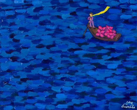 노 젓는 큰왕자 (Big Prince Rowing), 45x53cm, oil on canvas, 2016