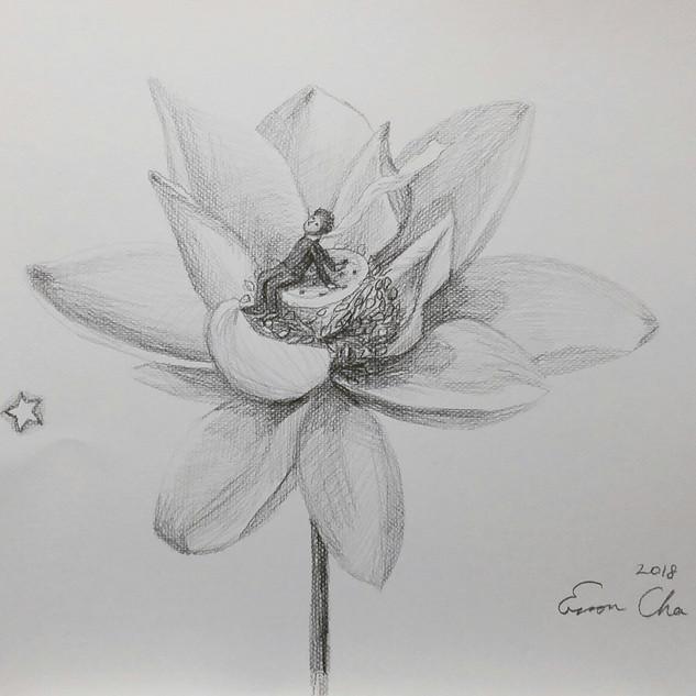 연꽃과 큰왕자(Big Prince and the Lotus)42×32cm, pencil on paper, 2018