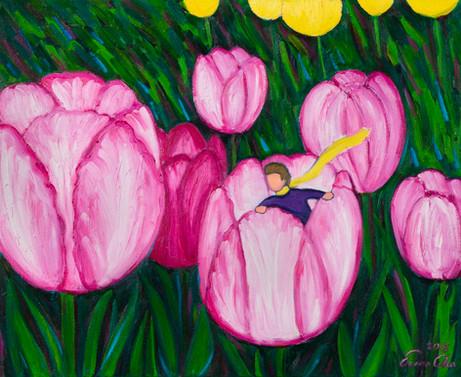 튤립과 큰왕자 (Big Prince and Tulips), 65x53cm, oil on canvas, 2015