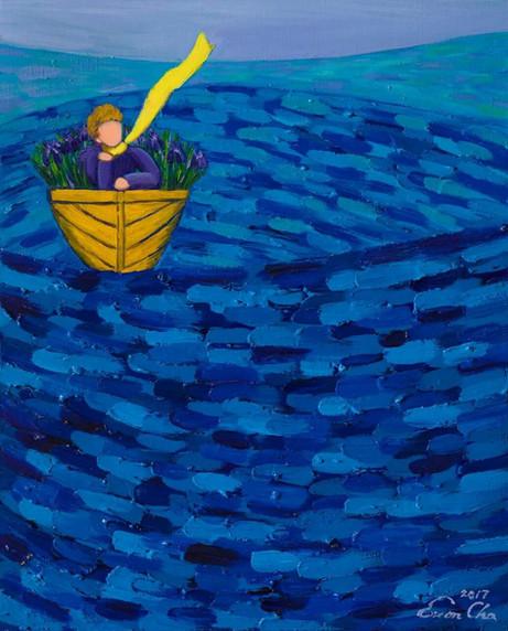 멍 때리는 큰왕자 (Big Prince Thinking of Nothing), 53x65cm, oil on canvas, 2017