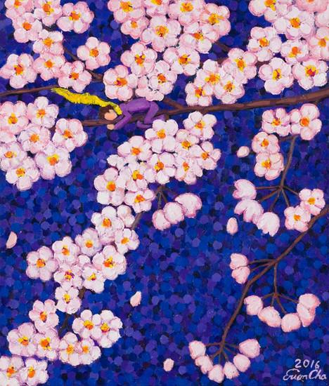 보랏빛깔 하늘 속 벚꽃(Cherry Blossoms in Purple), 45x53cm, oil on canvas, 2016