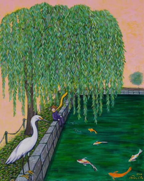 버드나무와 큰왕자 (Big Prince and the Willow), 80x100cm, oil on canvas, 2014
