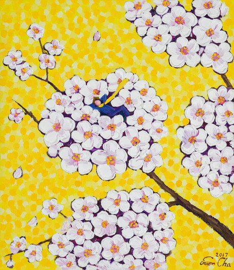 레몬 빛깔 하늘 속 큰왕자 (Big Prince in Lemon Yellow), 45x53cm, oil on canvas, 2017
