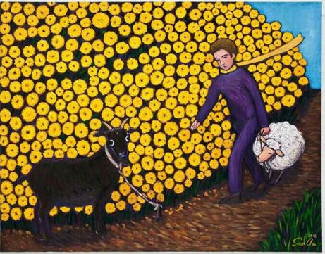 염소와 큰왕자 (Big Prince and the goat), 116x70cm, oil on canvas, 2012