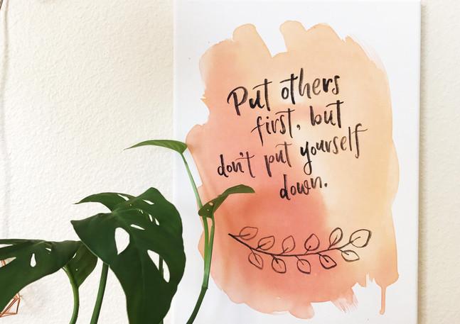 selfless motto peach painting