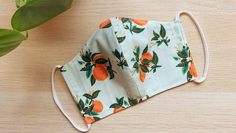 orange blossom elastic mask with plant.j