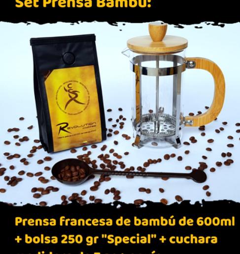 Set Prensa Bambú de 600ml $72.000