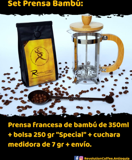 Set Prensa Bambú de 350ml $62.000