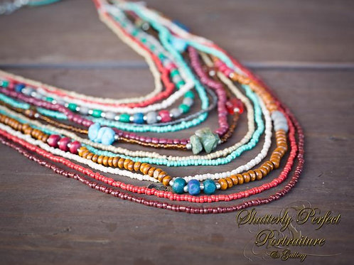 14 Strand Glass, Stone, and Iron Necklace
