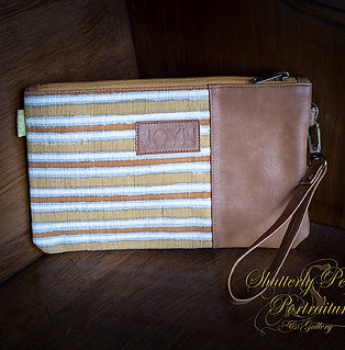 Riya Mustard Stripes Vegan Clutch