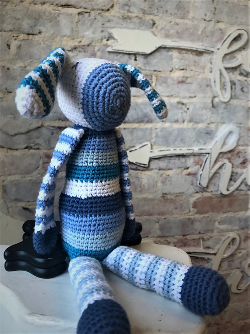 Blue Striped Bunny Rattle