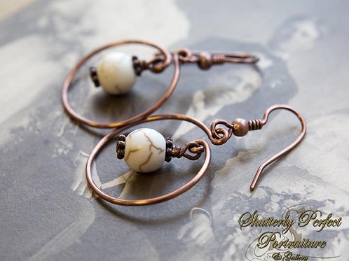 Copper Circle and Natural Stone Earrings