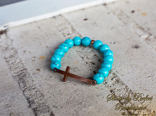 Turquoise stone and cross bracelet