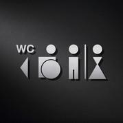 Logo, inox, alu, découpe laser, toilette
