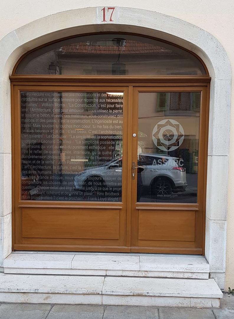 décoration, logo adhésif vitrine carouge