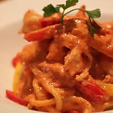 Troccoli con Gamberi (Thick Spaghetti with Prawns)