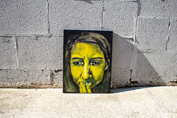 painting portrait of woman thinking, in yellow, wall background