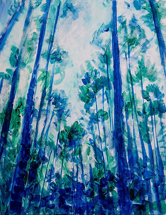 Abstract painting on canvas of a forest closeup